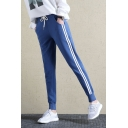 New Trendy Striped Side Drawstring Waist Gathered Cuffs Sports Sweatpants