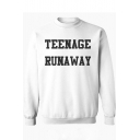 Fashion Letter TEENAGE RUNAWAY Printed Crewneck Long Sleeve Unisex Sweatshirt