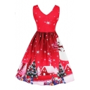 Fancy Sleeveless V Neck Christmas Tree Printed Midi A-Line Dress