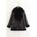 Winter's New Arrival Notched Lapel Collar Long Sleeve Belted Waist Zip Up Fur Inside Black PU Jacket