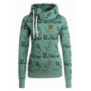 Fashion All Over Animal Pattern Long Sleeve Slim Fitted Drawstring Hoodie