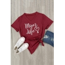 Simple Short Sleeve V Neck Letter MOM LIFE Heart Printed Leisure Tee