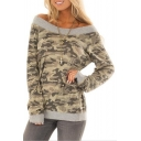 Long Sleeve Off The Shoulder Camouflage Printed Gray Casual Loose Tee