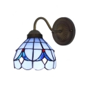 Blue/White Gooseneck Wall Lamp Tiffany Style Stained Glass Wall Sconce for Staircase