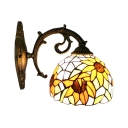 Sunflower Design Wall Lamp Tiffany Style Stained Glass Wall Sconce in Multicolor