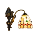 Tiffany Style Shelly Wall Sconce with Mermaid Stained Glass Wall Lamp in Beige for Corridor
