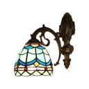 Aqua Dome Wall Sconce Tiffany Mediterranean Style Stained Glass Wall Light for Bedroom