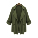 Army Green Long Sleeve Lapel Collar Split Back Plain Single Breasted Tunics Trench Coat