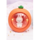 Funny Cute Gift Cartoon Rabbit Embellished Carrot Shaped Night Lamp with Gift Bag