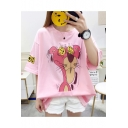 Cartoon Pink Panther Printed Round Neck Short Sleeve Oversized T-Shirt