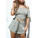 Off The Shoulder Lace Up Back Crop Top Plain Drawstring Waist Wide Leg Short Gray Co-ords