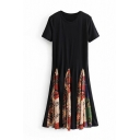 Hot Style Short Sleeve Round Neck Patched Shift Black Midi Dress