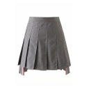 Trendy High-Rise Chic Colorful Striped High Low Hem Mini A-Line Pleated Skirt