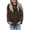 Street Style Half Zip Front Long Sleeve Plain Faux Fur Warm Sweatshirt