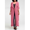 Women's Lightweight Solid Long Sleeve Notched Lapel Collar Chiffon Longline Trench Coat