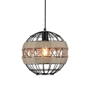 Globe Hanging Lamp Vintage Industrial Metal 1 Light Pendant Lamp in Black for Sitting Room