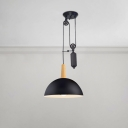 Vintage Industrial Pulley Pendant Light Wood 1-Light Suspension Light in Black for Kitchen