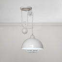 Industrial Pulley Semicircle Suspended Light Industrial Steel Pendant Light in White