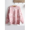 Lovely All Over Cartoon Dog Jacquard Crewneck Long Sleeve Pullover Sweater