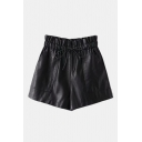 Drawstring Elastic High Waist Basic Solid Black PU Wide Legs Shorts