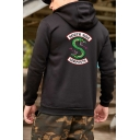 Leisure Long Sleeve Letter Snake Printed Back Zip Placket Unisex Hoodie