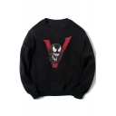 Cotton Long Sleeve Round Neck Venom Series Letter V Printed Sweatshirt