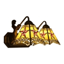 Tiffany Style Star Wall Sconce Amber Glass Double Lights Handcrafted Wall Light for Bedroom