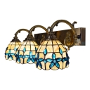 Bowl Shade Sconce Light with Blue Bead Tiffany Style Shell 3 Heads Lighting Fixture for Bedroom