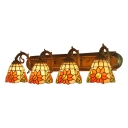 Multicolored Floral Sconce Light Tiffany Retro Style Stained Glass 4 Lights Wall Mount Light