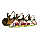 Stained Glass Dragonfly Wall Sconce Tiffany Retro Style 4 Lights Wall Lighting in Brass Finish