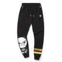 Cute Black Cotton Panda Cartoon Drawstring Waist Sport Pants