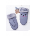 Lovely Cat Face Embroidered Faux Fur Girls' Gloves