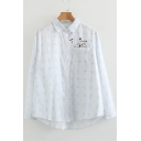 Cartoon Snoopy Printed Long Sleeve Lapel Collar Button Down Shirt