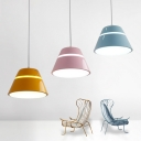 Cone LED Pendant Light Nordic Macaroon Style 1 Light Hanging Lamp in Black/Blue/Orange/Pink/White