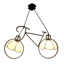 Bicycle Hanging Light Tiffany Vintage Stained Glass 2 Heads Pendant Light for Children Room