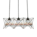 Metal Cage Ceiling Pendant Lamp Tiffany Mediterranean Style Stained Glass 3 Heads Hanging Lamp