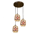 3 Lights Bucket Shade Hanging Light Tiffany Style Shelly Pendant Light in Multicolor