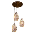 Triple Head Oval Pendant Lamp Tiffany Style Shelly Suspended Light with Metal Base
