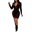 Women's Fashion Black Half-Zip Placket Slim Fit High Neck Long Sleeve Bodycon Dress