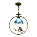 Petal Ceiling Pendant Lamp Tiffany Style Blue Glass 1 Head Accent Pendant Light with Bird
