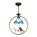 Petal Ceiling Pendant Lamp Tiffany Style Blue Glass 1 Head Accent Pendant Light with Bird