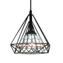 Blue Glass Diamond Cage Hanging Lamp Modern Mediterranean Style 1 Bulb Suspended Light
