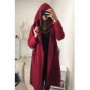 Warm Long Sleeve Plain Tunics Open Front Hooded Tie Waist Wool Coat