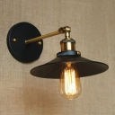 Railroad Wall Mount Fixture Vintage Steel Single Light Accent Wall Sconce in Antique Brass