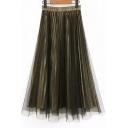 Retro Elastic Waist Plain Midi A-Line Mesh-Gauze Gold Skirt