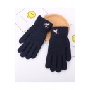 Unicorn Embroidered Warm Cozy Knit Cycling Gloves