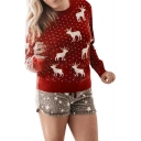 Digital Polka Dot Cartoon Deer Printed Long Sleeve Round Neck Red Sweatshirt for Women
