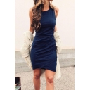 Sexy Hot Popular Round Neck Sleeveless Plain Mini Wrap Dress