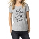Stylish Short Sleeve Round Neck Letter GOD IS GOOD ALL THE TIME Printed Gray Cotton T-Shirt
