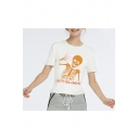 Hot Fashion HAPPY HALLOWEEN Skull Printed Round Neck Short Sleeve White T-Shirt
